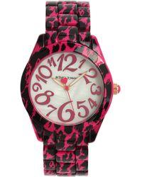 Betsey Johnson Cheetah Watch - Pink