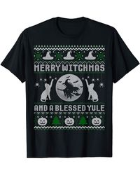 Caterpillar Merry Witchmas Cat Lover Ugly Christmas Sweaters T-shirt - Black
