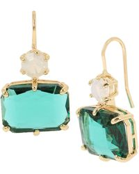 Jessica Simpson Mixed Stone Double Drop Earrings - Green