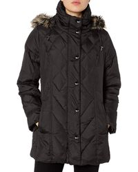London Fog Packable Diamond Quilted Down Coat - Black