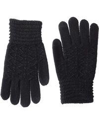 Steve Madden Lurex Zig Zag I-touch Gloves - Black