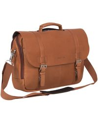 Kenneth Cole Reaction Show Business Full-grain Colombian Leather Dual Compartment Flapover 15.6-inch Laptop Business Portfolio - Brown
