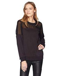 BCBGMAXAZRIA Martina Mixed Media Sweatshirt - Black