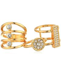 Guess - S Three-piece Ring Set With Crystal Stones - Lyst
