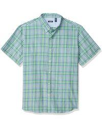 Izod Breeze Short Sleeve Button Down Plaid Shirt - Green