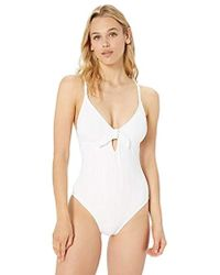 Kenneth Cole Reaction Lace Front One Piece Swimsuit - White