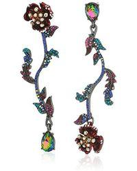 Betsey Johnson - Surreal Forest Mismatch Linear Flower Drop Earrings - Lyst