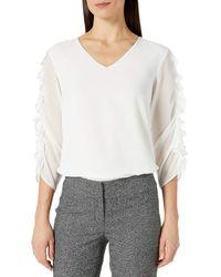 Calvin Klein V-neck Ruffle Sleeve Blouse - White