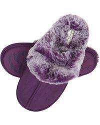 Jessica Simpson Comfy Faux Fur S House Slipper Scuff Memory Foam Slip On Anti-skid Sole - Purple
