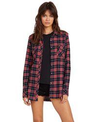 Volcom Getting Rad Plaid Long Sleeve Flannel Shirt - Red