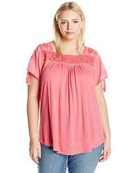 c300d0507b6 Lyst - Charlotte Russe Plus Size Floral Cold Shoulder Keyhole Blouse
