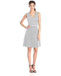 Marc New York - Stripe V Neck Fit And Flare Dress - Lyst