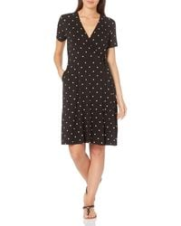Amazon Essentials Cap-Sleeve Faux-Wrap Dress Dresses - Nero