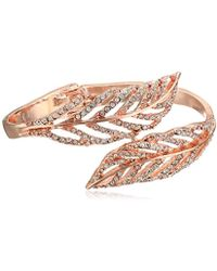 Guess - Crystal Feather Bypass Hinged Bypass Bangle Bracelet - Lyst