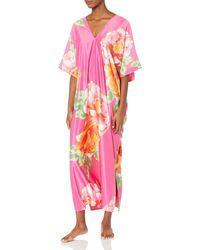 Natori Floral Print Caftan - Pink