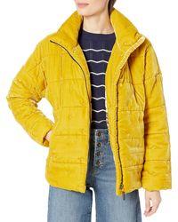 Johnny Was Silk Blend Velvet Mustard Yellow Puffer Jacket