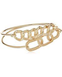 Guess - Frozen Chain Tension Duo Gold Bangle Bracelet - Lyst
