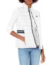 Tommy Hilfiger Quilted Vest With Tommy Logo Elastic Cinch Waist - White
