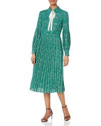 Dear Drew by Drew Barrymore The Cubist Long Sleeve Tie Neck Pleated Dress - Green