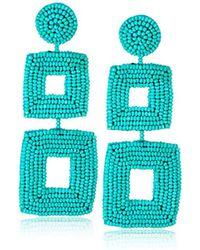 Kenneth Jay Lane - Turquoise Seed Bead Open Double Square Shape Drop Earrings - Lyst