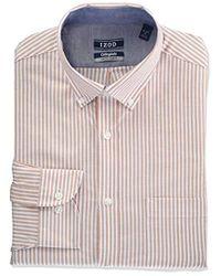 Izod Slim Fit Collegiate Stripe Buttondown Collar Dress Shirt - Multicolor
