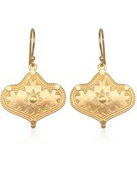 Satya Jewelry Gold Ornamented Drop Earrings - Metallic