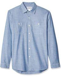 Amazon Essentials Regular-Fit Long-Sleeve Chambray Shirt Button-Down - Bleu