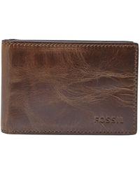 Fossil Derrick Leather Money Clip Bifold Wallet - Brown