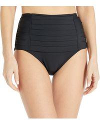 Calvin Klein Pleated High Waist Bikini Swimsuit Bottom - Black