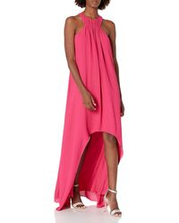 Halston Sleeveless High Low Gown - Pink