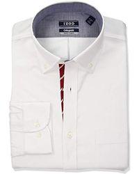 Izod Slim Fit Collegiate White/red Dress Shirt
