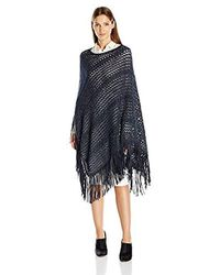 La Fiorentina - Open Knit Poncho With Faux Suede Fringe - Lyst