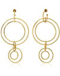 Noir Jewelry - Clio Wireframe Gold Drop Earrings - Lyst