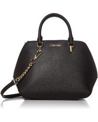 Calvin Klein Hayden Saffiano Leather Triple Compartment Chain Satchel - Black