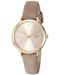 Lacoste Moon Small Stainless Steel Quartz Watch With Leather Calfskin Strap, Beige, 11.5 (model: 2001049) - Multicolor