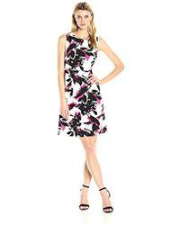 Kasper - Brushed Flower Printed Crepe Dress - Lyst