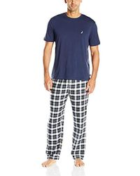 Nautica - Plaid Flannel Pant And Short Sleeve Tee Set, Navy, Large - Lyst
