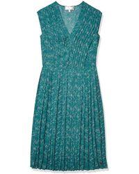 Dear Drew by Drew Barrymore The Impressionist Pleater V-neck Midi Dress - Green