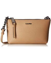 Calvin Klein - Hayden Key Item Saffiano Leather Crossbody - Lyst