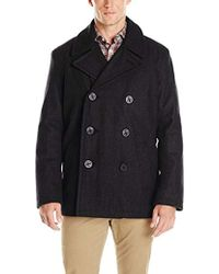 Tommy Hilfiger Wool Melton Classic Double Breasted Peacoat - Black