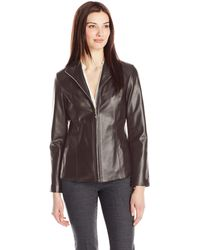 Cole Haan Classic Leather Jacket - Brown