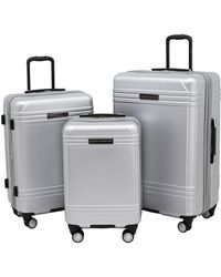 French Connection 3 Piece Horizon Expandable Spinner Luggage Set - Metallic