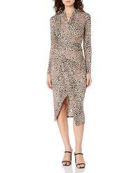 RACHEL Rachel Roy Animal Printed Long Sleeve Jersey Bret Dress - Natural