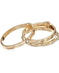 Guess - S Three-piece Hinge Bangle Set With Studs - Two-tone - Lyst