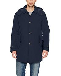 Tommy Hilfiger Hooded Rain Trench Coat With Removable Quilted Liner - Blue