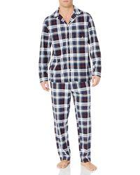 Nautica Cozy Fleece Plaid Pajama Pyjama Set - Blau