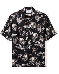 28 Palms Relaxed-fit Silk/linen Tropical Hawaiian - Black