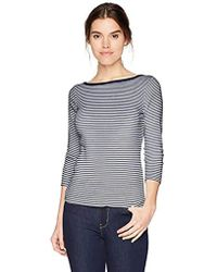 Three Dots - Montauk Stripe 3/4 Slv Short Tight Shirt - Lyst