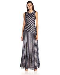Donna Morgan Gigi Striped Sequin Gown - Multicolor