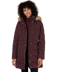 Tommy Hilfiger Mid Length Puffer Jacket With Faux Fur Trimmed Hood - Purple